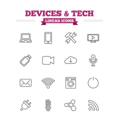 Devices and technologies linear icons set thin vector