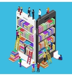 Isometric online mobile library vector