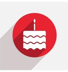 Modern cake red circle icon vector