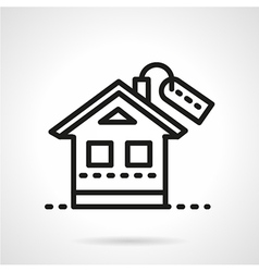 Mortgage simple black line icon vector