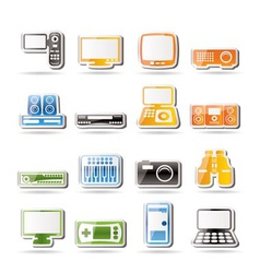 Simple hi-tech equipment icons vector