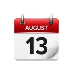 August 13 flat daily calendar icon date vector