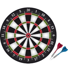 Dartboard with two darts vector