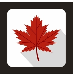 Red maple leaf icon in flat style vector
