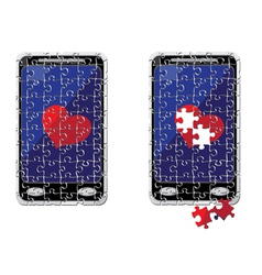 Puzzle smart phone and heart vector