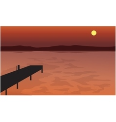 At Sunset pier silhouette scenery vector image