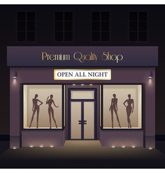 Beauty store front view template vector