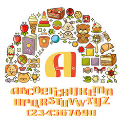 Childrens icon set - toys sweets alphabet vector