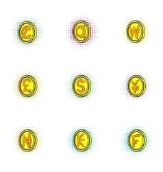Currency icons set pop-art style vector