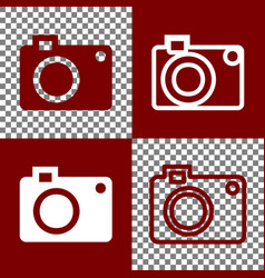 Digital camera sign bordo and white icons vector