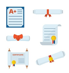 Diploma Certificate Icons vector image vector image