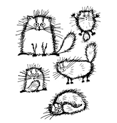 Fluffy white cats collection sketch for your vector image vector image