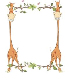 Framework with giraffes vector image vector image