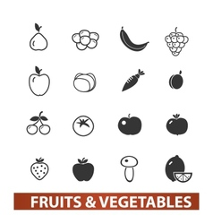 fruits vegetables icons set vector image