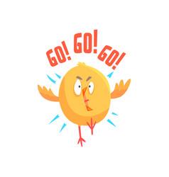 funny cartoon comic chicken with phrase go go go vector image vector image