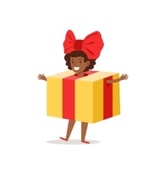 Girl in present outfit dressed as winter holidays vector