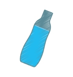 Hand colored drawing bottle water icon vector