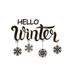 hello winter text vector image
