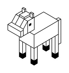 Horse isometric isolated icon vector
