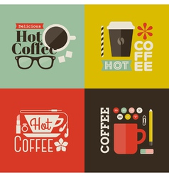 Hot coffee Collection of design elements vector image