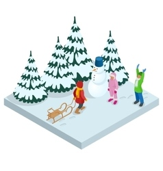 Isometric kids playing outdoors in winter vector