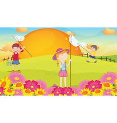 kids and landcape vector image