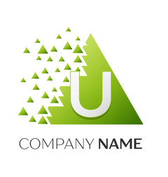 Letter u logo symbol in colorful triangle vector