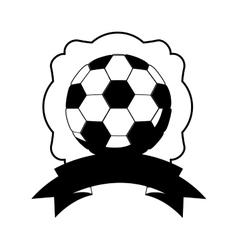 Monochrome frame with soccer ball and ribbon vector