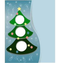 New year tree on a blue background with toys star vector image vector image