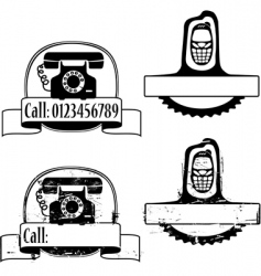 Rubber stamp with phone vector