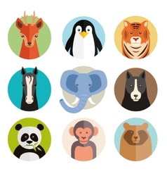 Set of animal icons in round buttons vector image vector image