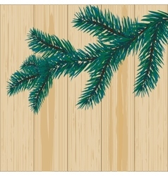 Sprig of blue spruce on a background of wood vector