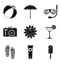 Sunburn icons set simple style vector