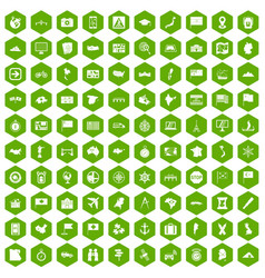 100 cartography icons hexagon green vector