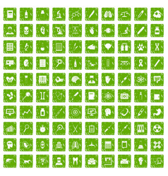 100 diagnostic icons set grunge green vector