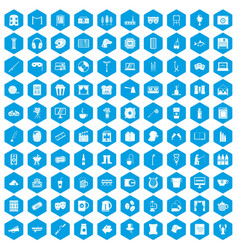 100 leisure icons set blue vector