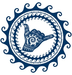 Shaka hand sign in a round ornament of the waves vector image