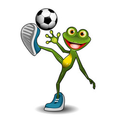 Frog with a soccer ball vector