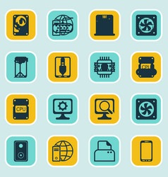 set of 16 computer hardware icons includes pc vector image