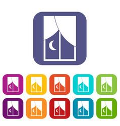 Nightly window icons set flat vector