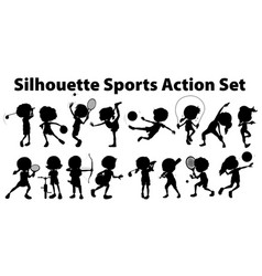 Silhouette sports action set on white background vector