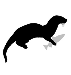 Otter with fish vector