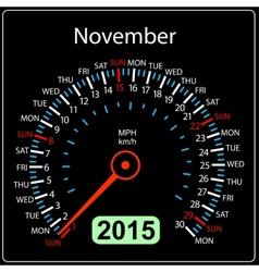 2015 year calendar speedometer car in November vector image vector image