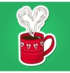 Tea or coffee cup with heart shaped steam vector image