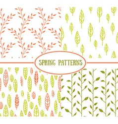 Set of four seamless patterns with spring leaf it vector