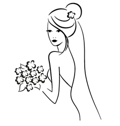 Beautiful bride with bouquet vector
