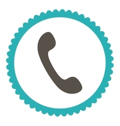 Phone flat grey and cyan colors round stamp icon vector