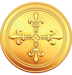 gold coin French ecu reverse vector image