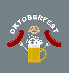 Oktoberfest logo beer mug with foam fried sausages vector