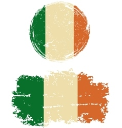 Irish round and square grunge flags vector